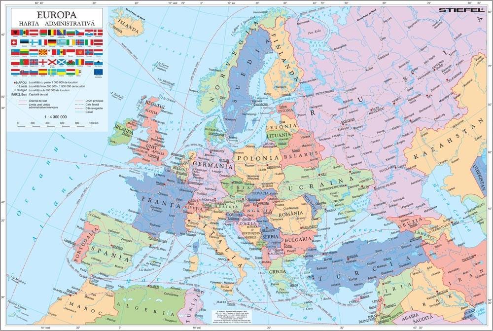 Harta De Perete Europa Administrativa 160x120 Cm Stiefel Romania