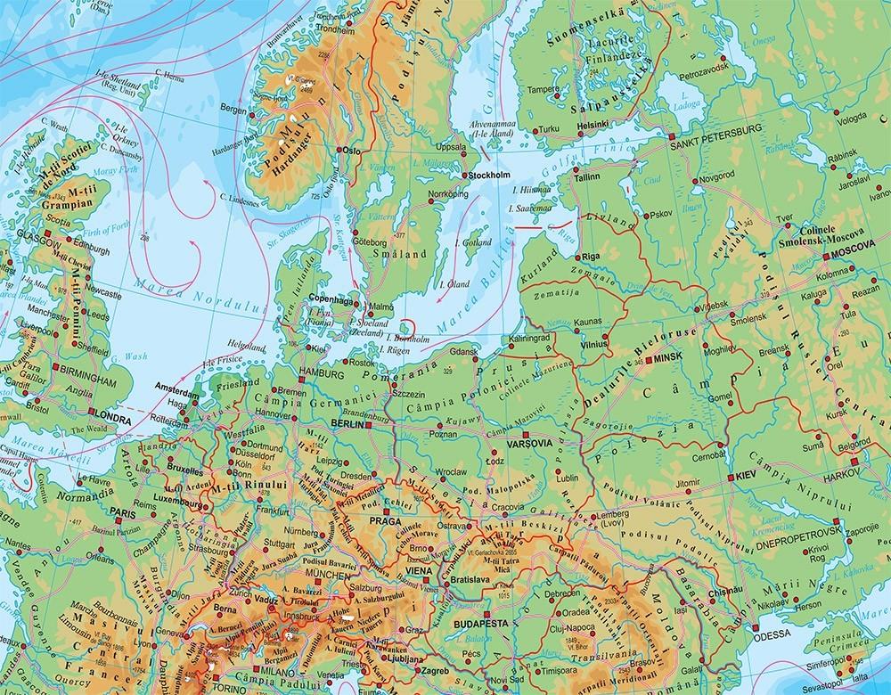 Harta De Perete Europa Fizico Geografica 160x120 Cm Stiefel Romania