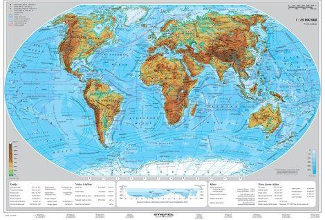 Hartă politică și fizică de perete a lumii
