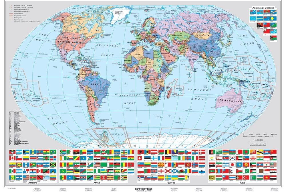 Harta De Perete Politica Si Fizica A Lumii 160x120 Cm Stiefel