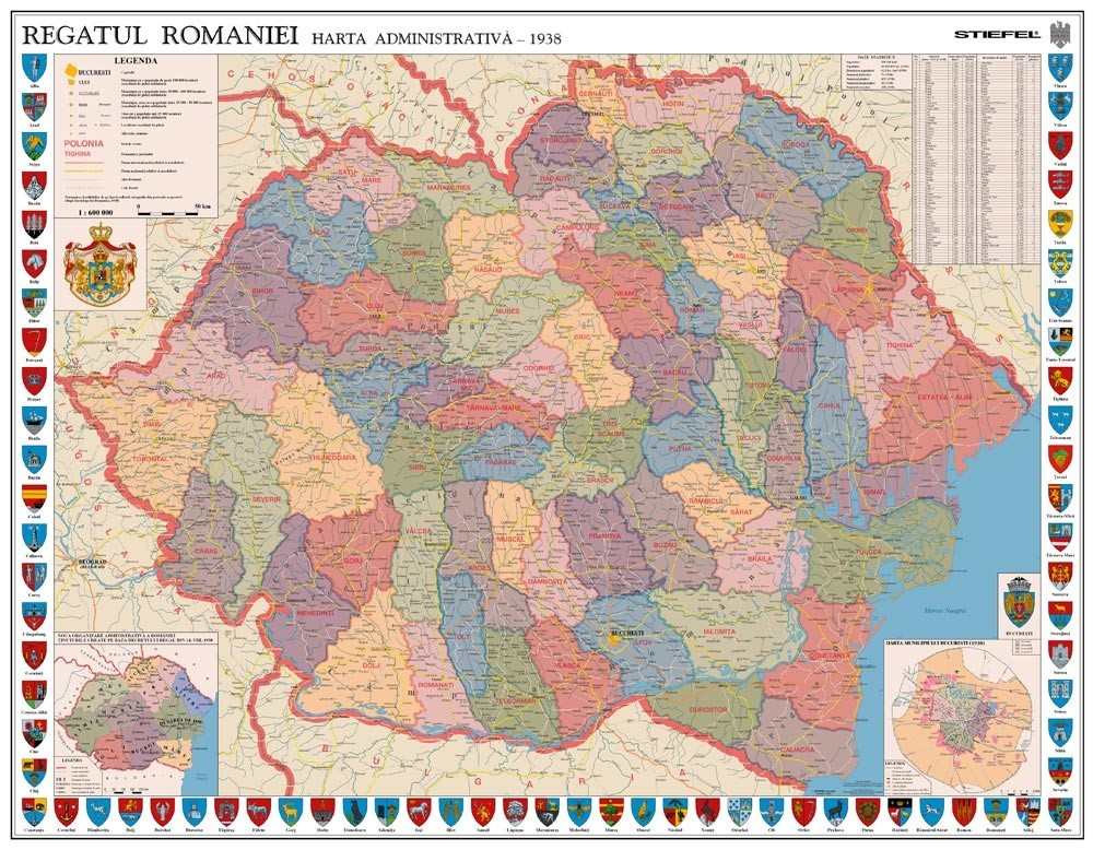 Harta De Perete Romania Interbelica 160x120 Cm Stiefel Romania