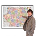 Harta administrativă a României în ramă de aluminiu foam