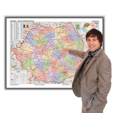 Harta administrativă a României în ramă de aluminiu 100x70 cm, magnetică