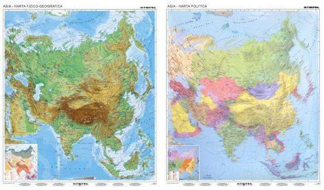 Harta de perete Asia fizico-geografică/politică 130x150 cm șipci lemn
